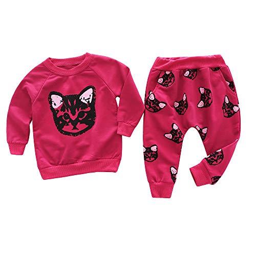 Shopaholic0709 Neugeborenes Baby Langärmelige,babysachen mädchen (18M-5T) Kinder Langarm Cartoon Katze Top + Hosen Zweiteiler Rosa, Rot Baby Strampler Bedrucken