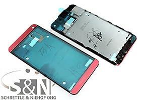 NG-Mobile Original HTC ONE M7 Gehäuse Frontcover für Display inkl. Kleber Schale, rot