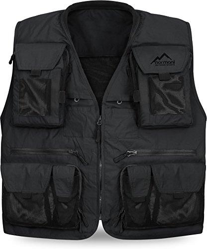 normani Ultraleichte Outdoor Weste Angelweste mit 19 praktischen Taschen und HKK-Verschlüssen in 5 Farbe Schwarz Größe S