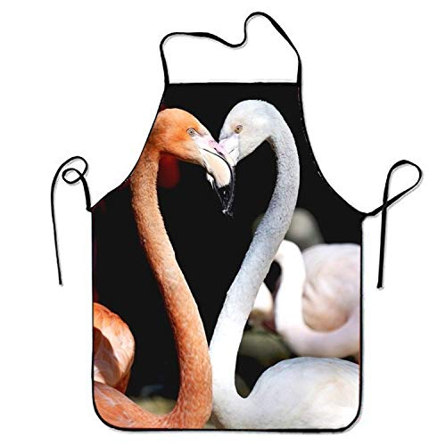 Flamingo Heart Birds Love Romantic Kitchen Cooking Apron For Women And Men Adjustable Neck Strap Restaurant Home Kitchen Apron Bib For Cooking, BBQ
