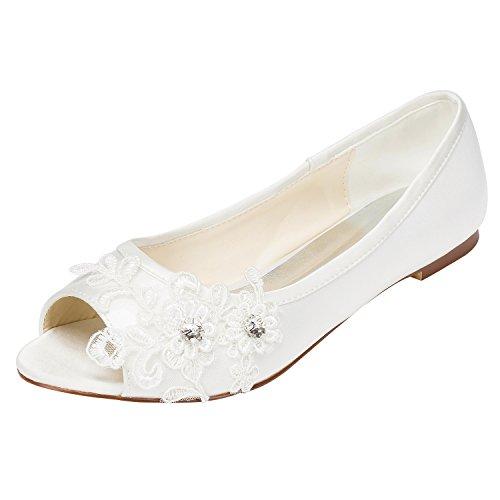 Emily bridal scarpe da sposa tacco a spillo piatto da donna in raso con tacco in cristallo (eu42, ivory)