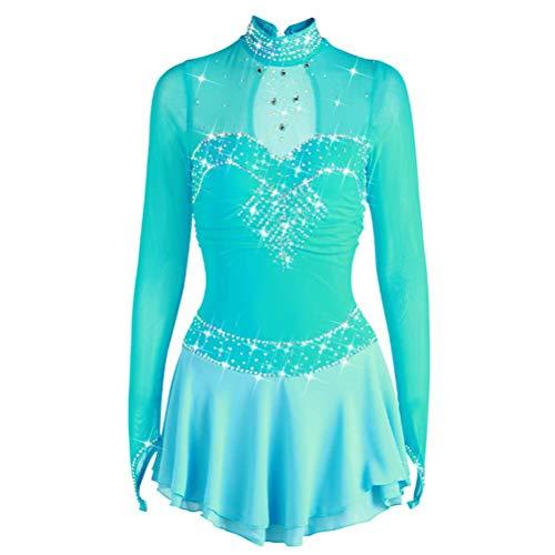 YunNR Handgemachtes Jeweled Lange Ärmel Eiskunstlauf-Leistungsanzug für Kinder/Mädchen Atmungsaktiv Gymnastik Trikot Wettbewerb Kleider Hellblau,Blue,XL Jeweled Kleid