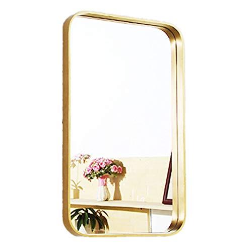Moderner Rechteckiger Wandspiegel aus Metall   Glasscheibe Gold gerahmt abgerundete Ecken tiefes Set Design   Gespiegelte Hänge horizontal oder vertikal (3 Größen) - Gespiegelte Möbel Aus Glas