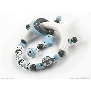 Greifling Greifring Auto Stern mit Namen 3 – 7 Buchstaben – grau hellblau weiß für Jungen – Rassel Glöckchen – (grau…