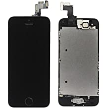LL TRADER For iPhone 5s LCD Screen Replacement Repair Touch Digitizer Frame Dispaly Assembly Full Set Black 3 Ribbons with Small Parts including (Home Button+Camera+Sensor Flex)