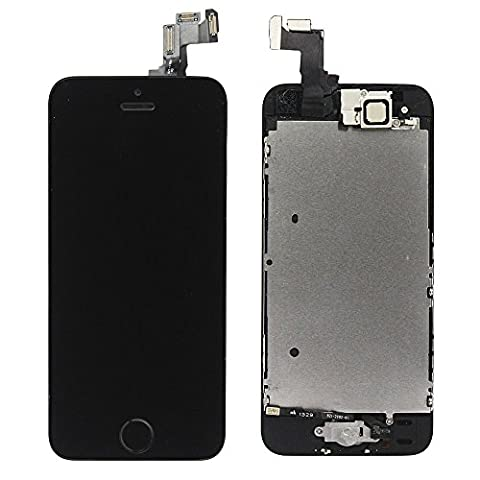 LL TRADER For iPhone 5s LCD Screen Replacement Repair Touch Digitizer Frame Dispaly Assembly Full Set Black 3 Ribbons with Small Parts including (Home Button+Camera+Sensor
