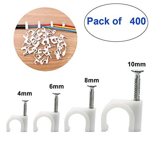 TOOHUI Cable Clip Redondo con Clavos, Grapas para Cables, Abrazadera para Cable Coaxial, Gestión de Cables, 400pcs Juego de Clip para Cable Redondo de 4mm 6mm 8mm 10mm (Blanco)