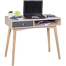 WOHNLING Schreibtisch Design Bürotisch Mit Schublade Sonoma/Grau Tisch  Computertisch 90 Cm Modern Computerschreibtisch Mit