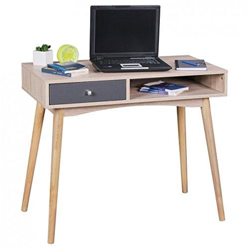 Bureau SAMO 90x78x45cm avec tiroir en chêne Sonoma   Bureau d'ordinateur dans la conception rétro moderne   Espace-enregistrement de table d'ordinateur portable pour les étudiants et les jeunes
