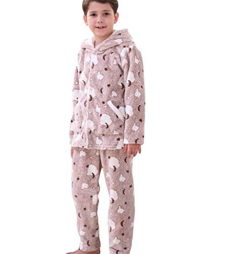 Bwiv Schlafanzüge für Mädchen aus Fleece Dicke Warm Pyjama Baumwolle Winter Kinder Hausanzug Jungen Mit Kapuze 2 Teilig Schlafanzughosen Langarm Schlafanzugoberteile Nachtwäsche Set Hellbraun 146/152