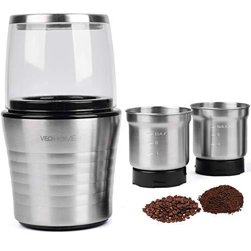 Moulin à café et mixeur électrique VeoHome broyeur pour grains de café, graine de lin et autres...