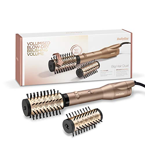 BaByliss AS952E Big Hair Dual - Cepillo de Aire, 2 Cabezales Cerámicos y Rotatorios de 50 y 40 mm...