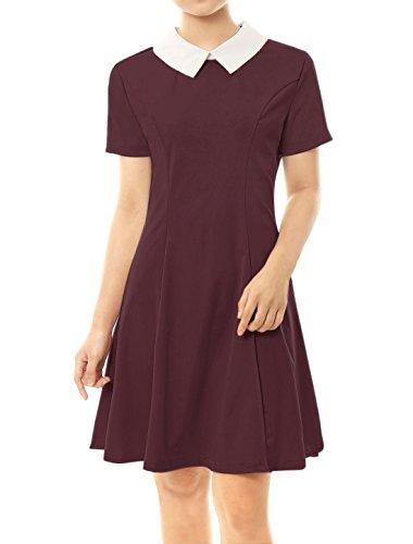 Allegra K Damen A Linie Kurzarm Panel Bubikragen Minikleid Kleid Rot M(EU 40)