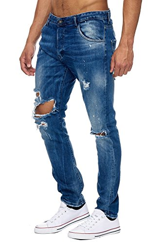 EightyFive Stone Herren Denim Destroyed Jeans-Hose Slim Fit Basic Blau EFJ155 Dunkelblau