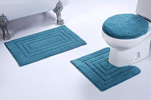 Mk Home Badewannenset, Rutschfest, rechteckig, für Badezimmer, mit Badematte, Konturmatte und Deckelbezug, 3 Stück 3pc Bath Set türkis (3 Stück Teppich Set Türkis)