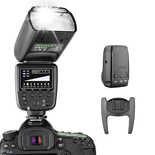 Neewer Blitz Speedlite mit 2.4G Funksystem und 15 Kanal Sender für Canon Nikon Sony Panasonic Olympus Fujifilm Pentax und andere DSLR-Kameras mit Standard-Blitzschuh (NW570) Kamera 2.4
