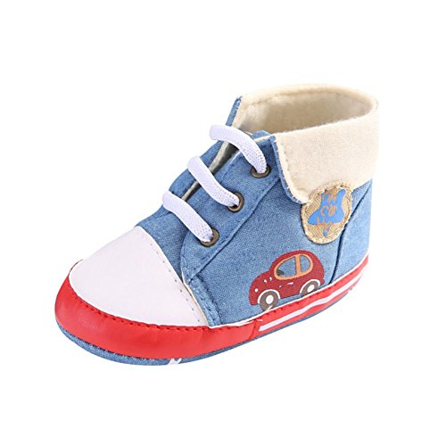 Allouli Baby AntiSlip Soft Sole First Walkers Cartoon Car High Heel Lace-Up Shoes (Vintage-heels Lace)