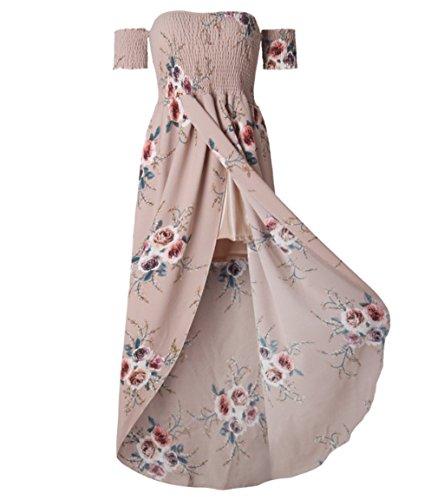 ASSKDAN Damen Boho Blumen Off Schulter KurzeÄrmel Beach SommerKleid  Partykleid MaxiKleid Long Beach Kleid Rosa