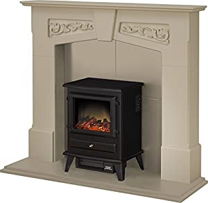 Adam Richmond Inglenook Stove Suite in Stone Effect with Hudson Electric Stove in Black, 48 Inch