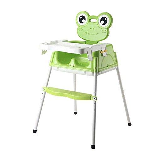 Onfly Beweglicher Faltbarer Babyhochstuhl, Kurzer gleitender Schemel + justierbarer speisender Stuhl + Hoher Erwachsener Schemel Contempo Highchair, Frosch-Karikatur (Farbe : Grün) -
