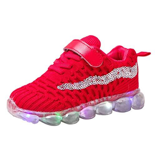 Deloito Kinderschuhe Jungen Freizeit Pailletten Fliegen Gewebe Mesh Sneaker Mädchen LED-Beleuchtung Sportschuhe Komfort Beleuchtung Laufschuhe (Rot,23 EU)