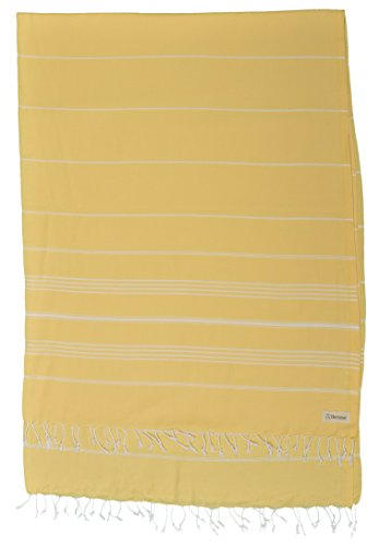 Bersuse 100% Cotton – Anatolia XL Blanket Turkish Towel – Multipurpose Bed or Couch Throw, Table Cover or Picnic Mat- Bath Beach Fouta Peshtemal – Striped – 61X82 Inches, Yellow