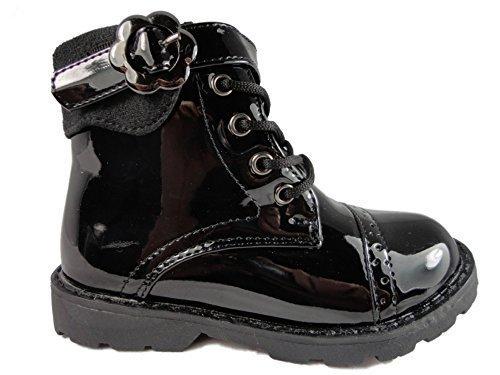 Neu Mädchen Kleinkinder Schwarz Burgund Stiefel Schuhe Schnürer Reißverschluss Klettband Lackleder Glänzend 6-12 - Schwarz, EU 28 (Klettband Burgund,)