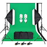 Softbox Focos Kit Iluminacion Fotografia con 2 Ventana de Luz 125W, 2 Softbox 50x70cm, Fondo Conjunto de Color Verde/Blanco/Negro, 2 Tripodes Luz Continua para Estudio...