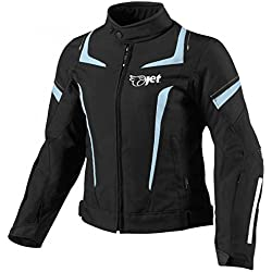 JET Chaqueta Moto Mujer Textil Impermeable con Armadura (XL (ES 42-44), Azul)