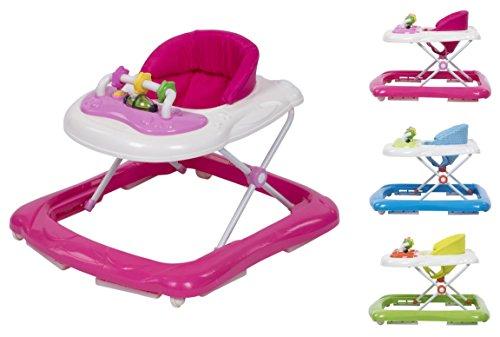 """Clamaro """"BABYRACER"""" Baby Gehfrei (rosa) - Höhenverstellbare Lauflernhilfe mit extra hoher Rückenlehne und bequemen Polstern, extra Spielcenter mit Musik und Lichtern"""