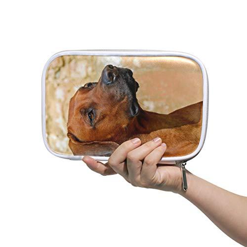 FAJRO Make-up-Tasche, große Kapazität, Federmäppchen mit Hund, Rhodesian Ridgeback, Büro, College, Mädchen, Erwachsene, große Aufbewahrung.