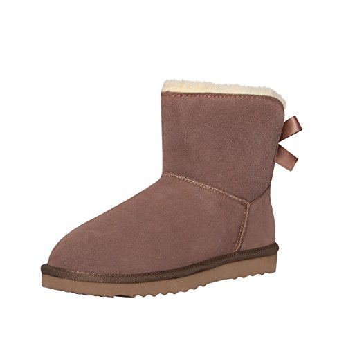 SKUTARI Wildleder Damen Frauen Winter Boots | Warm Gefüttert | Schlupf-Stiefel mit Stabiler Sohle | Schleife Pailletten Glitzer Meliert Schuhe Khaki