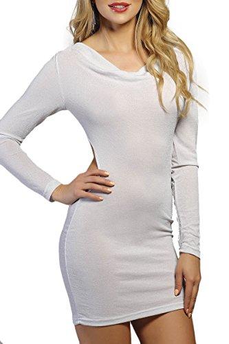 INFINIE PASSION - paillettes argentées - Robe moulante blanche Blanc