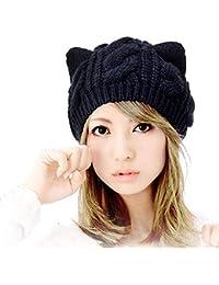 Uteruik Mode Femme Fille Chaud Hiver Automne Laine Crochet Baggy Beret  Bonnet caches Mignon Diable Corne Chat Oreille Forme en Tricot… e9cdbddb5d5