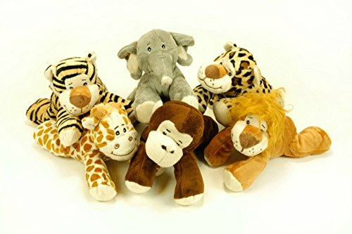 CAPRILO Lote de 6 Peluches Infantiles Decorativos Animales Tumbados Surtidos Multicolores. Juguetes Infantiles. Muñecos para Bebés. Regalos y Juguetes Baratos. 20 cm.