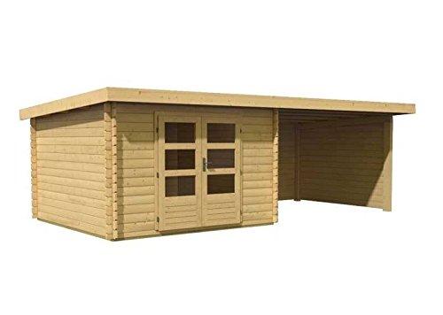 Karibu Gartenhaus Bastrup 5 mit Schleppdach, Fußboden und selbstklebende Dachbahn Außenmaß Haus...