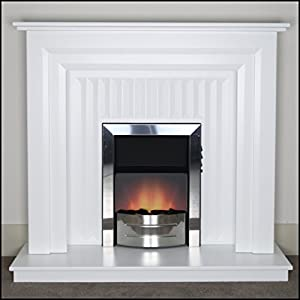 Malacrino Cantley White Electric Fireplace With Dexter Chrome Fire & Downlights