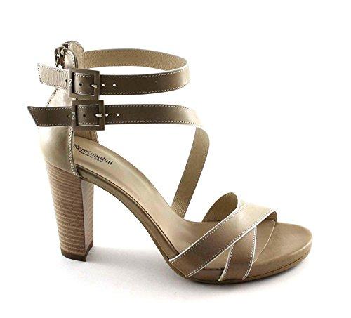 NERO GIARDINI 17580 beige scarpe donna sandali tacco pelle zip fibbie Beige