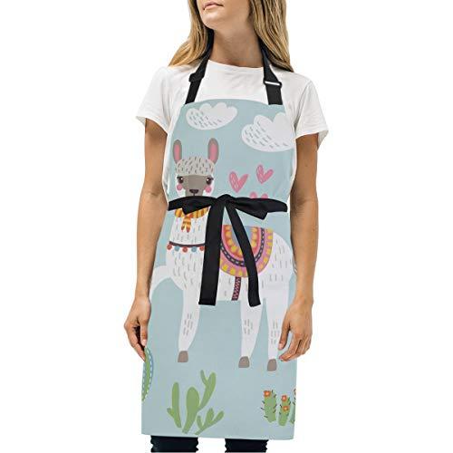 Wamika Llama Alpaca verstellbare Schürze für Zuhause, Küche, Grillen, Kaffee, Kaktus, Blume, Tier-Lätzchen, Schürzen, wasserdicht mit Taschen für Frauen, Herren, Chefkoch