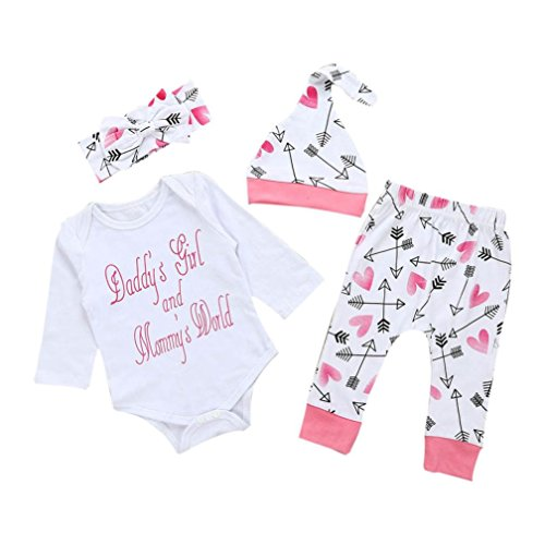 Baby Outfits, FEITONG Baby Boy Briefe Daddy's Girl Tops + Cartoon Hosen + Hut + Stirnband Outfits 4pcs Set (6M, (Daddy Und Baby Kostüme)