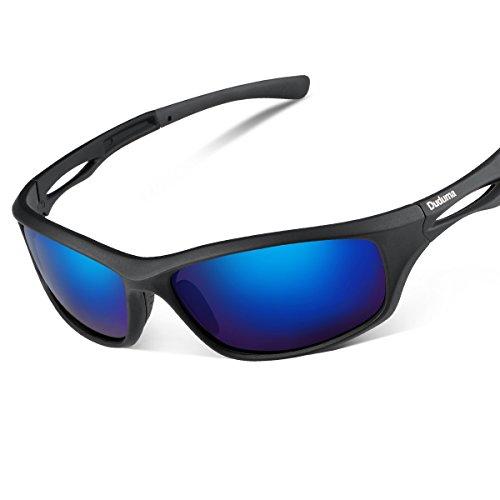 Duduma Sport Occhiali da Sole Polarizzati per Gli Uomini Ideale per lo Sci Golf Corsa Ciclismo TR90 Super Leggero per Gli Uomini e le Donne (Telaio nero opaco con lente blu)
