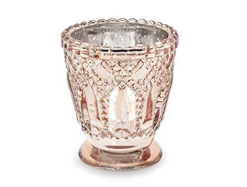 P&D 4 STK Kerzenhalter Rose Gold Glas Windlichter Hochzeitsdeko Teelichthalter Rosegold Kupfer rosa Gold Nostalgie Vintage Ornamente