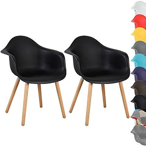 WOLTU® BH37sz-2 Esszimmerstühle 2er Set Esszimmerstuhl mit Lehne Design Stuhl Küchenstuhl Holz Schwarz