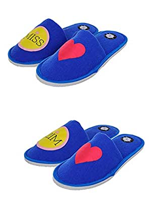 SQUETCH MR & Miss Love Combo Home Slippers Blue