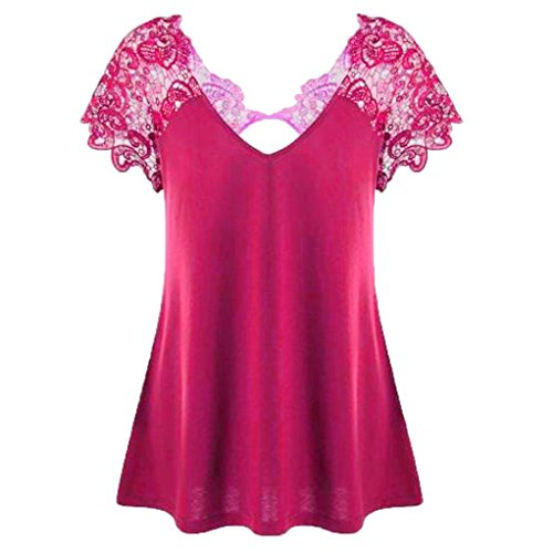 MRULIC Damen Fashion V-Ausschnitt Plus Größe Spitze Kurzarm Trim Cutwork T-Shirt Tops Geschenk Zum Muttertag(Pink,EU-40/CN-2XL)