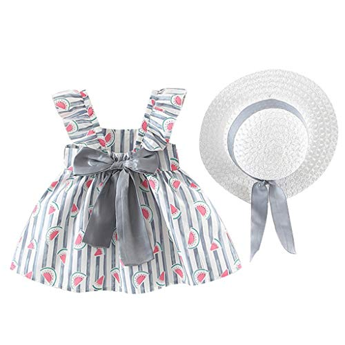 ärmellose Rüsche Bogen Kleid Wassermelone Druck Prinzessin Kleid Abendkleid ()