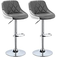 WOLTU Bar Stools Grey+White Bar Chairs Breakfast Dining Stools for Kitchen Island Counter Bar Stools Set of 2 pcs Leatherette Exterior, Adjustable Swivel Gas Lift, Chrome Steel Footrest & Base
