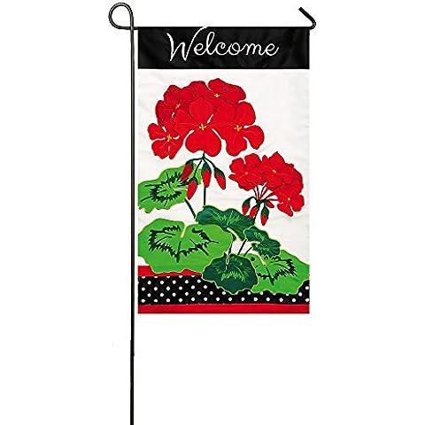 Bienvenido a Red geranios jardín bandera apliques