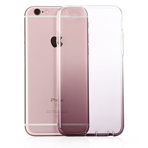 MicBridal® iPhone 6 / 6S/ 6P/ 6SP Hülle Gradient Transparent Farbe Bildserie Weich Silikon Schutzhülle Ultradünnen- Case für Apple iPhone 6 / 6P Schutz Hülle Transparent (Iphone7, 7/7Plus Schwarz) Grau