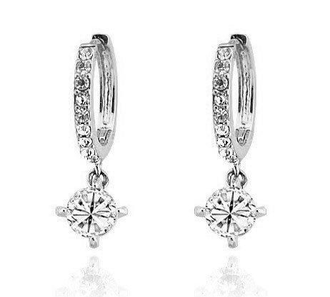 Eloquence - ''Round Cut White '' Kristall Ohrringe für Damen (Smaragd Und White Gold Ohrringe)